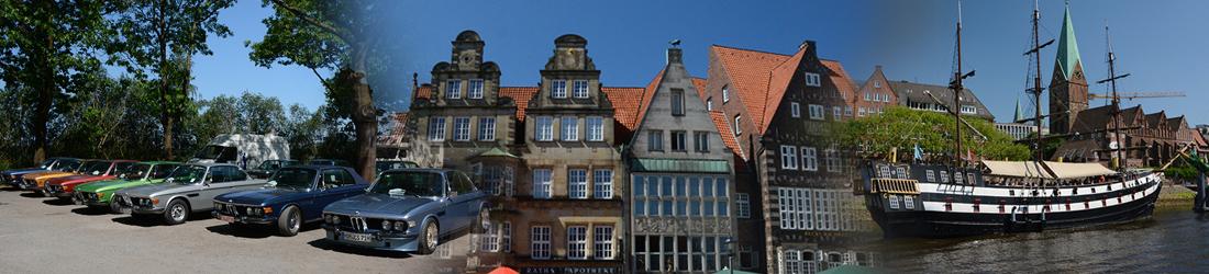 zeigt die Altstadt von Bremen mit Autos und Schiff